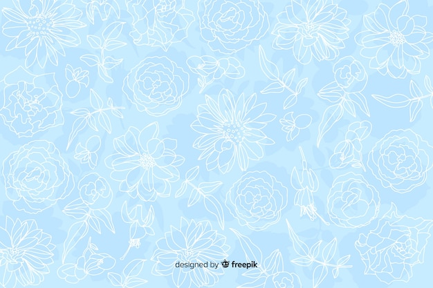 Realistic monochrome flowers on pastel background