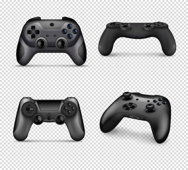 Realistic monochrome set of different models of controllers