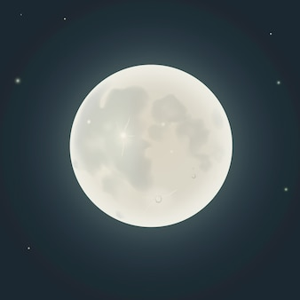 Realistic moon on night