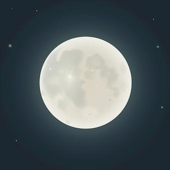 夜に現実的な月