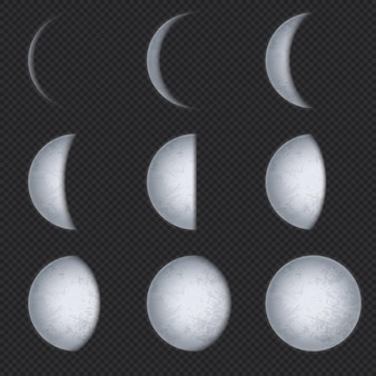 Реалистичные фазы луны. фаза луны, полная луна и новый серп с ночным небом. поверхность спутника земли с набором астрономических векторных текстуры. астрономическая иллюстрация полумесяца и затмения лунной фазы