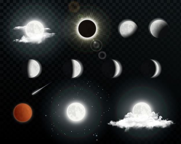 Realistic moon phases with clouds on transparent background. solar eclipse. lunar eclipse. illustration