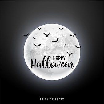 Luna realistica con scena di halloween di pipistrelli volanti