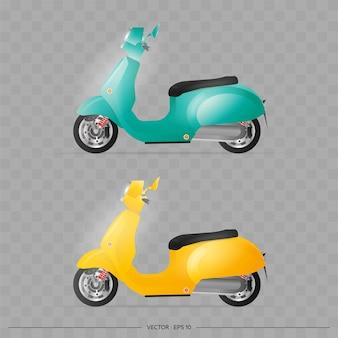 古いスタイルのリアルな原付。黄色と青の古いスクーター。配信の設計のための要素。輸送。