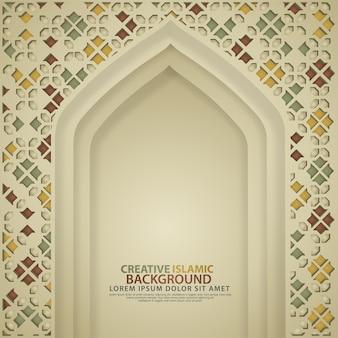 現実的なモスクのドア、創造的なイスラムの豪華な背景。