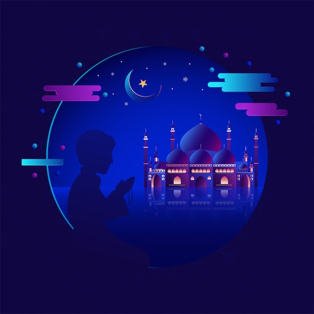 Realistic mosque with silhouette of muslim boy in salah. prayer boy