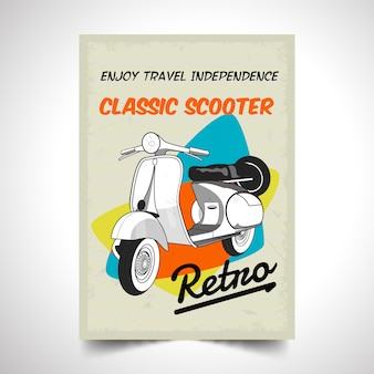 Realistic motor scooter vintage poster background