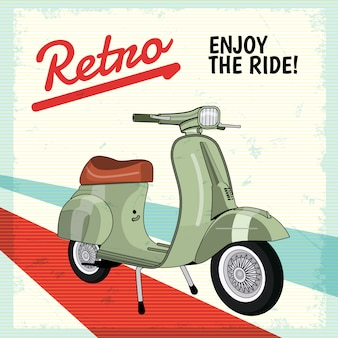 Realistic motor scooter vintage retro poster background
