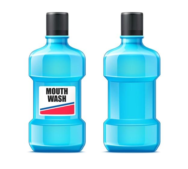 플라스틱 병에있는 현실적인 구강 세척액. 구강 치료. 치아 청소 제품.