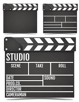 Realistic movie clapper board.