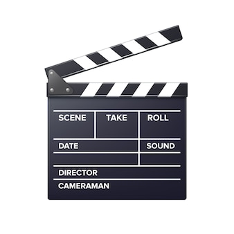 Realistic movie clapper slapstick front view close up isolated on white background