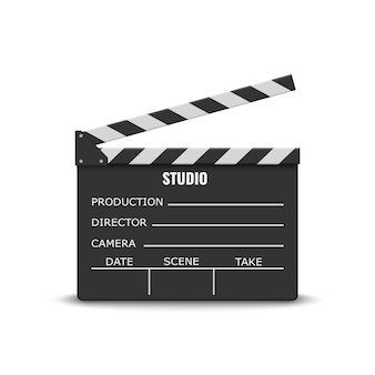 Realistic movie clapperboard on white