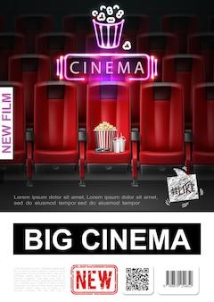 Manifesto di premiere del film realistico con auditorium del cinema e occhiali 3d frullato di popcorn sull'illustrazione rossa del sedile