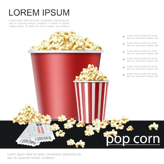 Realistic movie theater colorful poster with cinema tickets and paper buckets of popcorn