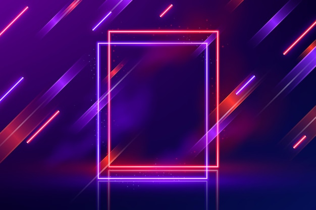 Realistic moving neon lights background