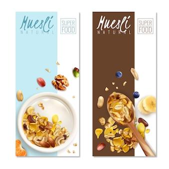 Realistic muesli banner template set