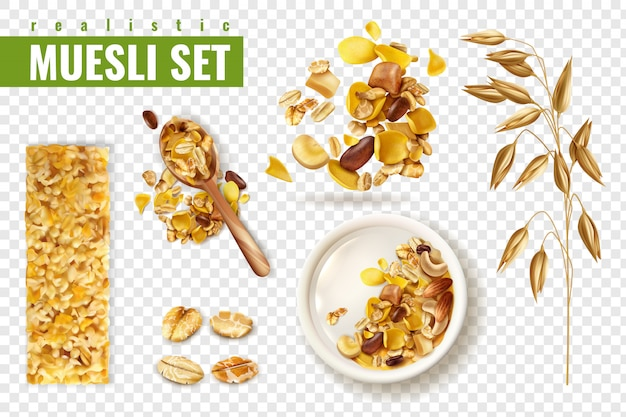 Realistic muesli on transparent  set with isolated images of cereals spreading and bars with text