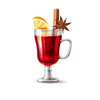 Realistic mulled wine glass orange slice and anise star at glass