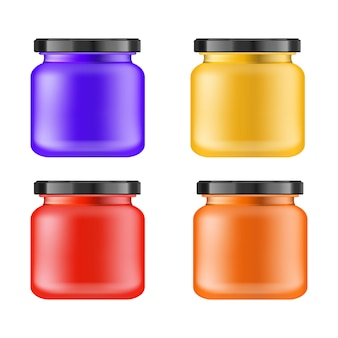 Realistic multi-colored matt jar with black lid for cosmetics -