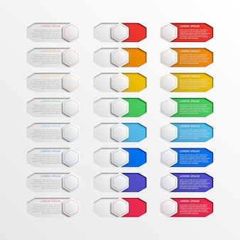 Realistic multicolor infographic slider switch interface hexagonal buttons with text boxes