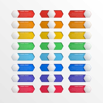 Realistic multicolor switch interface hexagonal buttons with text boxes on white