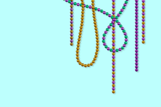 Реалистичные разноцветные бусы из марди гра