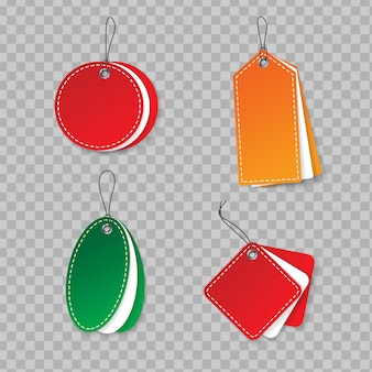 Realistic multicolored paper hanging labels mockup with cord. price tag set in different shapes.