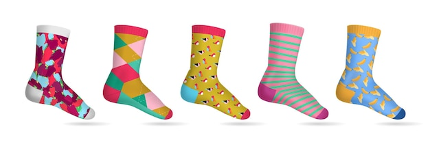 Realistic multicolored woman socks set with 5 various of patterns on white