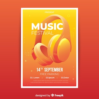 Realistic music festival poster template