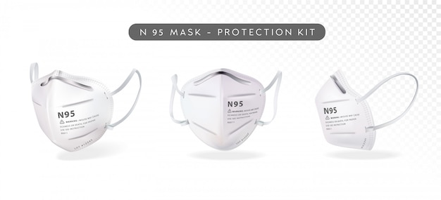 Realistic n95 mask illustration in three differenct angles