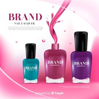 Realistic nail polish ad template