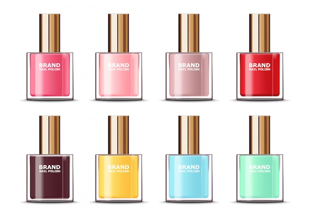 Realistic nail polish assortment of beautiful colors on white background isolated, big set nail polish, beauty product