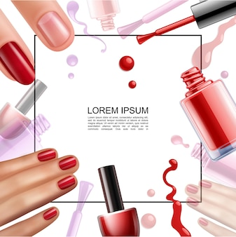 Realistic nail polish design template with frame for text colorful bottles brushes lacquer splashes drops and female hands with pretty manicure