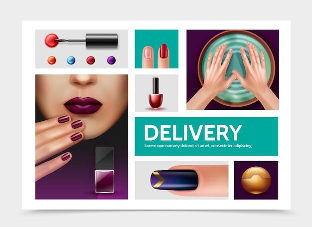 Elementi realistici dello smalto per unghie con bottiglie di smalto per unghie viso di donna graziosa e mani femminili nella ciotola della stazione termale prima del manicure isolato