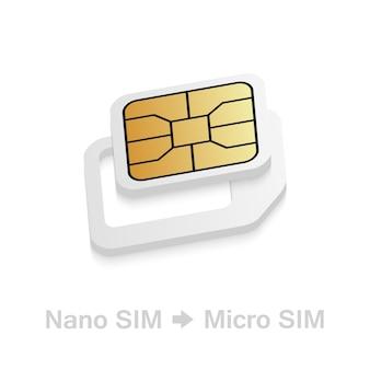 Realistic nano to micro sim card adapter. Premium Vector