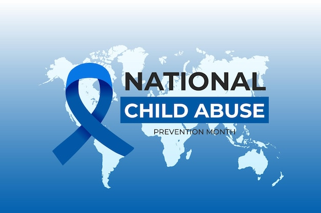 Realistic national child abuse prevention month illustration with world map