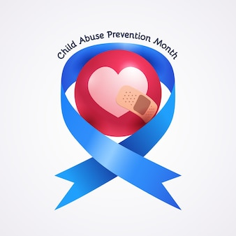 Realistic national child abuse prevention month illustration