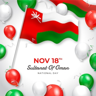 Realistic national day of oman illustration