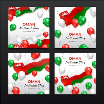 Realistic national day of oman instagram posts collection