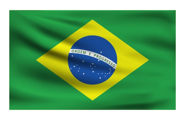 Realistic national flag of brazil