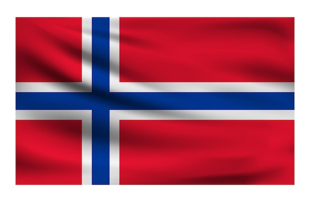 Realistic national flag of norway