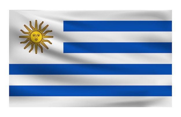 Реалистичный национальный флаг уругвая