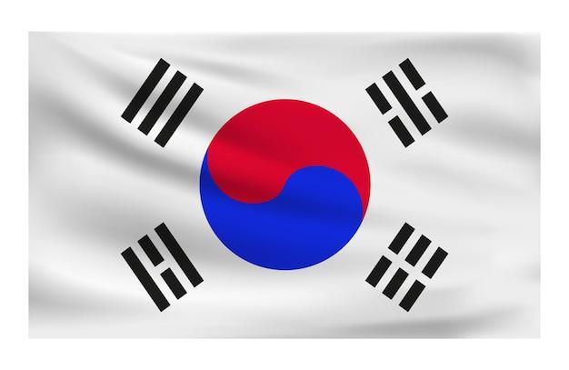 Realistic national flag of south korea