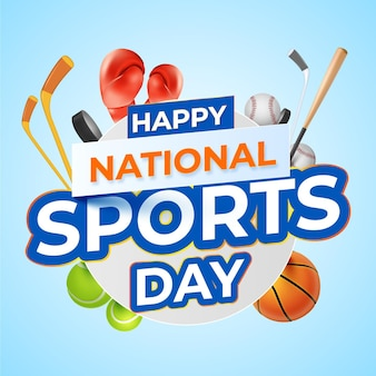 Realistic national sports day illustration