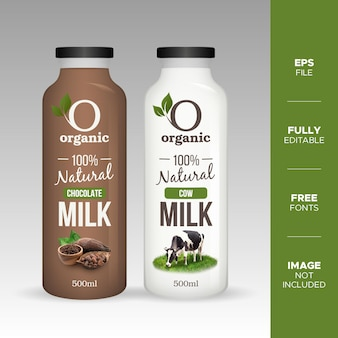Realistic natural chocolate and cow milk glass bottle mockup