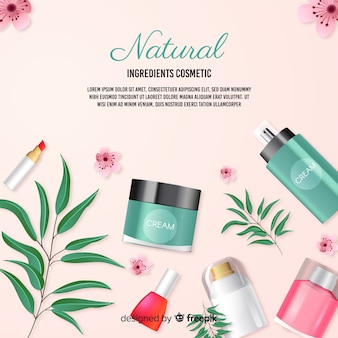 Realistic natural cosmetic ad poster