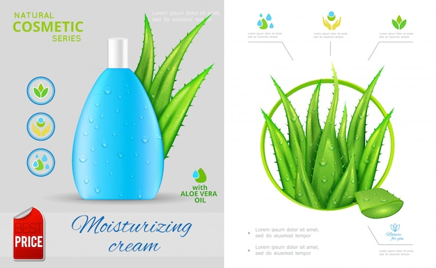 Realistic natural cosmetic composition with aloe vera plant and bottle of moisturizing cream