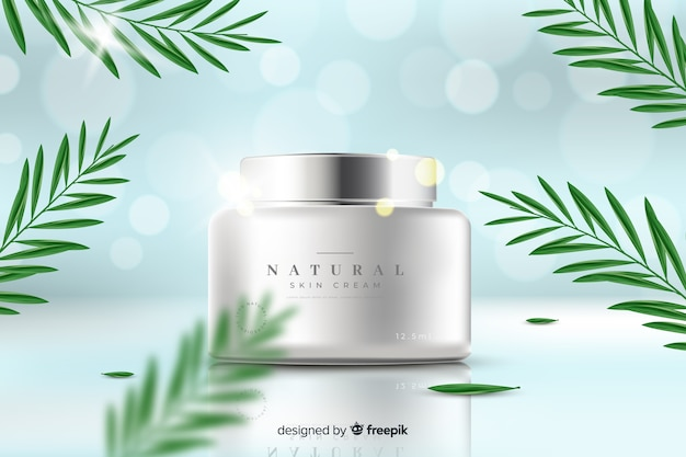 Realistic natural cream ad template