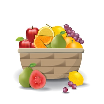 Realistic natural fresh fruits on basket summer isolated vector illustration 01