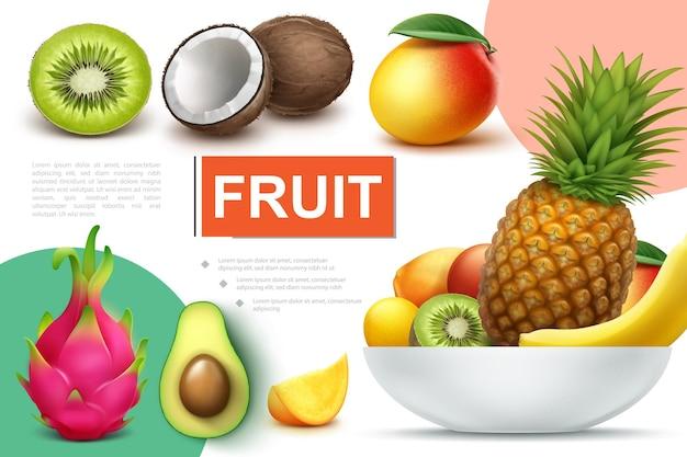 Реалистичная композиция из натуральных фруктов с миской ананаса, банана, киви, манго, кумквата, авокадо, кокоса, драконьего фрукта